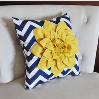NEW YEARS SALE Mellow Yellow Dahlia on Navy and White Zigzag Pillow -Chevron Pillow-