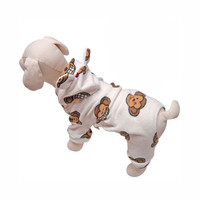 Silly Monkey Fleece Hooded Dog Pajamas by Klippo - White at BaxterBoo