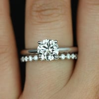 Alberta & Petite Bubble Breathe 14kt Round FB Moissanite and Diamond Tulip Solitaire Wedding Set (Other metals and stone options available)