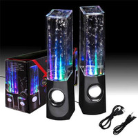 LED Dancing Water Music Fountain Light Mini Computer Speakers For Laptop Black