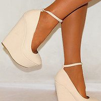 Women Nude Cream Snake Skin Court Platforms Wedges Ankle Strap High Heels