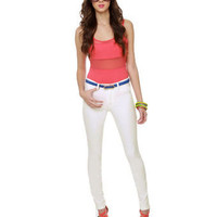 BB Dakota Mattox Pants - White Jeggings - White Skinny Jeans - $78.00