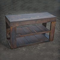Reclaimed Wood & Metal Bench with Shelf