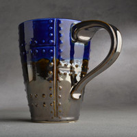 Sheet Metal Mug Made To Order Blue and Chrome Sheet Metal Stoneware Mug by Symmetrical Pottery