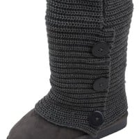 Womens Rib Knit Sweater Crochet Boots (6, Grey Triple 91006)