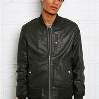 Indigo & Maine Leather Bomber Jacket