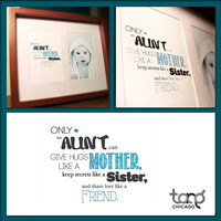 Printable Quote Art Wall Frame Decor - Auntie