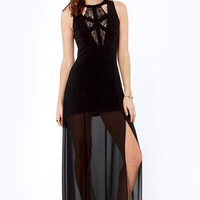 Stuff of Dreams Black Lace Maxi Dress