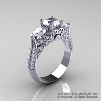 Classic 14K White Gold Three Stone Diamond Cubic Zirconia Solitaire Ring R200-14KWGDCZ