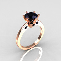 French 10K Rose Gold 1.5 Carat Black Diamond Designer Solitaire Engagement Ring R151-10KRGBD