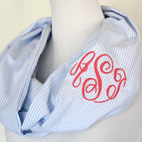 Seersucker Infinity Scarf - Monogrammed Scarf - Bridemaid Gift - Preppy Gift -Personalized Gift