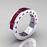 Mens Modern 14K White Gold Princess Red Garnet Channel Cluster Sun Wedding Ring R274-14WGRG