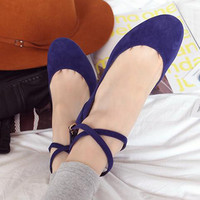 Ankle Strap Ballerina Flats from Pop and Shop
