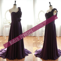 New Custom-made Sleeveless One Shoulder Purple Chiffon Prom Dresses Bridesmaid Dresses