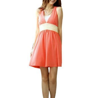 Allegra K Women Deep V Neck Split Back Self Tie Waist Strap Dress Watermelon Red S