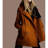 Button Closed Turndown Collar Coat from Pop and Shop