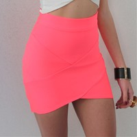 NEON PINK BANDAGE WRAP TUBE DISCO SKIRT 6 8 10 12