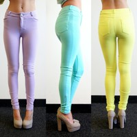 [SALE] PASTEL LILAC MINT NEON LIME SKINNY JEANS LOOK LEGGINGS PANTS 6 8 10 12