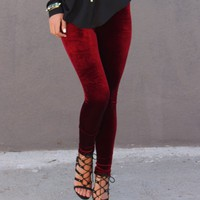 Velvet Leggings - Maroon