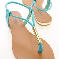 Teal Faux Leather Beaded Thong Post Sandals