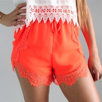 NEON ORANGE WRAP CROSSOVER SCALLOPED LACE HEM BEACH SHORTS 6 8 10 12