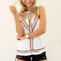 White Sleeveless Tank Top with Bead & Sequin Embellishment