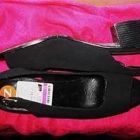 MUNRO SHOES BLACK CANVAS OPEN TOE SLINGBACKS W BUCKLES  SIZE 9.5N/41!MADE IN USA