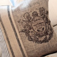 The French Emblem Burlap and Ticking Pillow Slip by JolieMarche