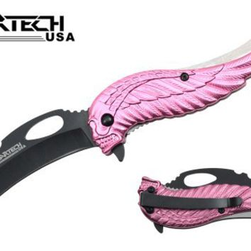 "Wartech 8"" Assisted Open Folding Tactical Pocket Knife Pink Skull Angel Design Handle"