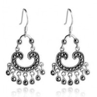 Sterling Silver Drop Earrings - Vintage Sterling Silver Marcasite Drop Earrings