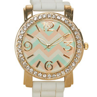 Chevron & Rhinestone Rubber Watch | Wet Seal