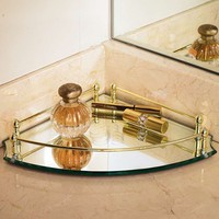 Belmont Personalized Corner Mirrored Vanity Makeup Tray