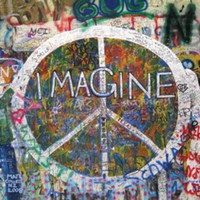 Imagine Peace Sign On Wall 36x24 Poster Art Print