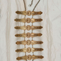 Gilded Summer-Bib Necklace-Vintage Brass Rose and Bar-Ribs