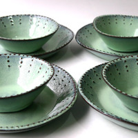 Stoneware Dinnerware Set - 8 Peices - Aqua Mist - Deep Salad Dinner Plate and Bowl - French Country - Made to Order