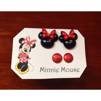 Handmade Disney Minnie Mouse Inspired Earring Set Glitter