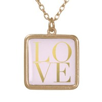 Faux Gold Foil Love Pink