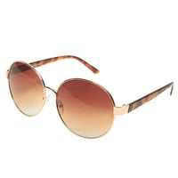 Round Tortoise Aviator Sunglasses | Wet Seal