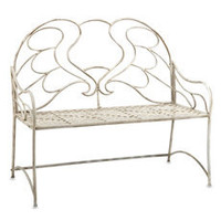Cream Garden Bench with Angel Wing Design - Bed Bath & Beyond