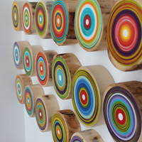 Set of 18 Tree Rings - Eco Friendly Wall Art - Made from Reclaimed Trees