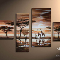 Hand-painted, Tropical Africa, Indoor decorative painting, giraffes.