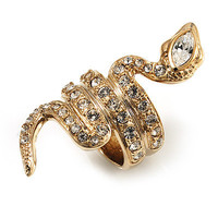 Gold Tone Swarovski Crystal Snake Ring - avalaya.com