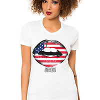 The Amerrikan Lips Tee in White