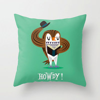 "The Howdy Owl - illustrated Cushion Cover / Throw Pillow (16"" x 16"") by Oliver Lake"
