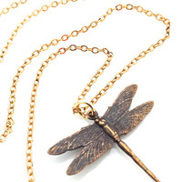 Dragonfly Necklace, Dragon Fly, Gold, Rustic Jewelry, Nature, Delicate, Cute Animal, Garden Lover Gift
