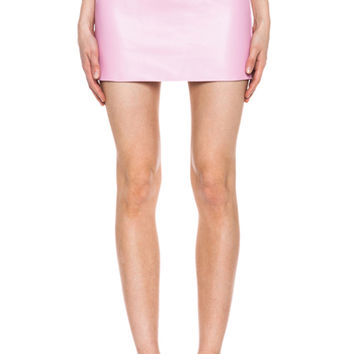 micro mini leather skirt in confection from forward