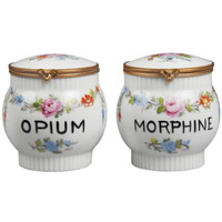 Limoge Opium And Morphine Porcelain Jars with a Floral Motif