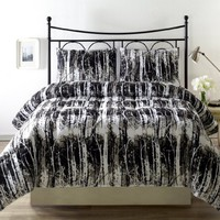 "SILHUETT 3 Piece Reversible Down Alternative Comforter Set, with Anti-Microbial finish, Black, White Bed Cover FULL/QUEEN Size 88 x88"" Bedding"