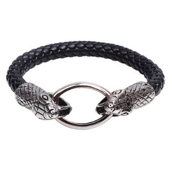 Amazon.com: Silver Metal Snake Head Circle Clasp Charm Pendant on Handmade Leather Bracelet: Jewelry