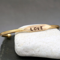 Love Gold Brass Cuff Bracelet - Valentines Day Jewelry